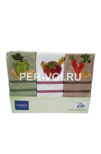 "Комплект из трёх кухонных полотенец 50х70 ""VINGI RICAMI"" Артикул: Алба 1"