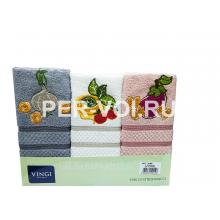 "Комплект из трёх кухонных полотенец 50х70 ""VINGI RICAMI"" Артикул: Алба 2"