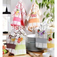 """Комплект из трёх кухонных полотенец 50х70 """"VINGI RICAMI"""" Артикул: Дама"""