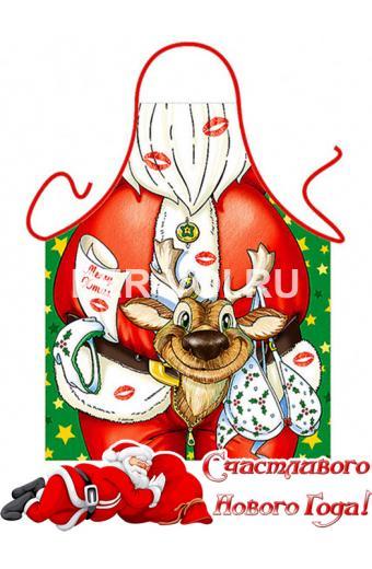 """Прикольный мужской новогодний фартук с веселым рисунком """"ITATI"""" Артикул: Дед Мороз с оленем"""