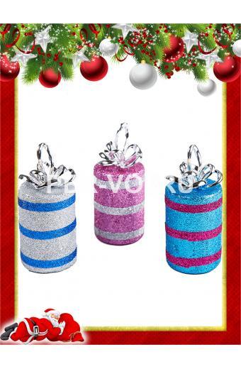 Набор пластиковых ёлочных украшений Артикул: Подарки круглые