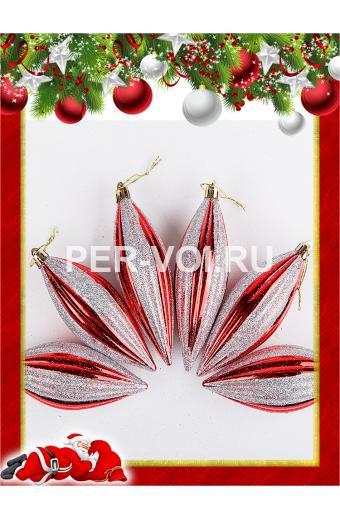 Набор пластиковых ёлочных украшений Артикул: Сосульки красно-белые