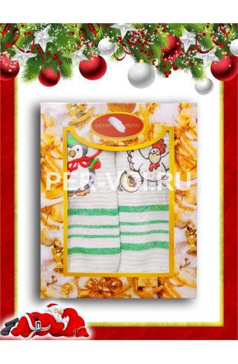 """Комплект из двух новогодних вафельных полотенец """"GRAND TEXTIL"""" Артикул: Мульти 12"""