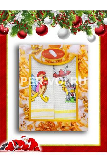 """Комплект из двух новогодних вафельных полотенец """"GRAND TEXTIL"""" Артикул: Мульти 6"""