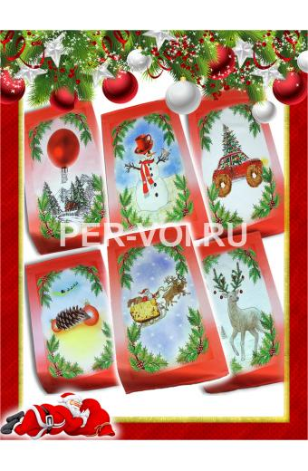 """Комплект из шести новогодних полотенец 50х70 """"VINGI RICAMI"""" Артикул: Тиффани (Холли)"""