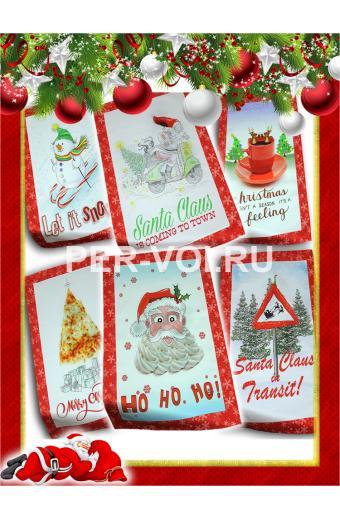 "Комплект из шести новогодних полотенец 50х70 ""VINGI RICAMI"" Артикул: Тиффани (Санта Клаус)"