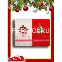 "Комплект из двух новогодних махровых полотенец 50х70 ""VINGI RICAMI"" Артикул: Флавиана 4"
