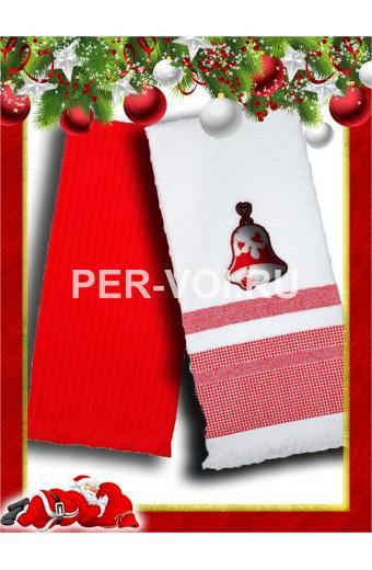 """Комплект из двух новогодних полотенец 50х70 """"VINGI RICAMI"""" Артикул: Гаити 1"""