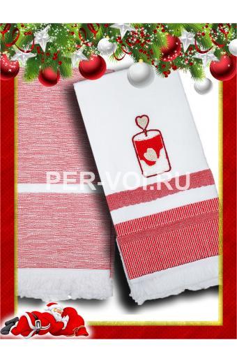 """Комплект из двух новогодних полотенец 50х70 """"VINGI RICAMI"""" Артикул: Гаити 2"""