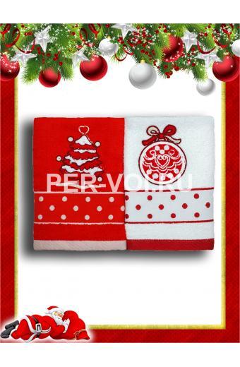 """Комплект из двух новогодних махровых полотенец 50х70 """"VINGI RICAMI"""" Артикул: Поис 7"""