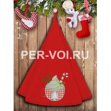 "Круглое новогоднее махровое полотенце диаметр 70 ""VINGI RICAMI"" Артикул: Жирелла 26"