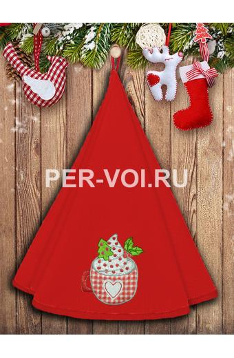"Круглое новогоднее махровое полотенце диаметр 70 ""VINGI RICAMI"" Артикул: Жирелла 27"