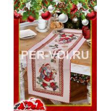 "Салфетка новогодняя гобелен с люрексом 40х100 ""VINGI RICAMI"" Артикул: Санта Клаус"