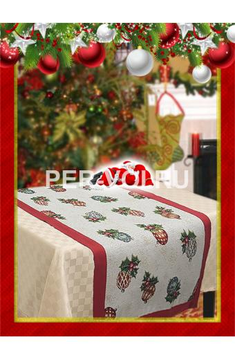 "Салфетка новогодняя гобелен с люрексом 40х120 ""VINGI RICAMI"" Артикул: Санта Клаус (шарики)"