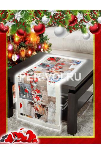 "Салфетка новогодняя гобелен с люрексом 40х120 ""VINGI RICAMI"" Артикул: Шарон 10"