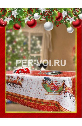"""Новогодняя скатерть с Дедом Морозом 140х180 """"GRAND TEXTIL"""" Артикул: Хэппи-8"""