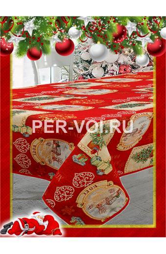 """Скатерть новогодняя гобелен с люрексом 140х210 """"MELANGIO"""" Артикул: Гобелен (открытка)"""