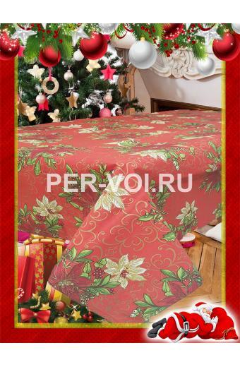 """Новогодняя скатерть на стол 140х180; 140х210; 140х240; 140х360; диаметр 160 """"MELANGIO"""" Артикул: Пуансети"""