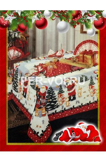 """Новогодняя скатерть с Дедом Морозом 140х180; диаметр 160 """"ONDA BLU"""" Артикул: Баббо Натале"""