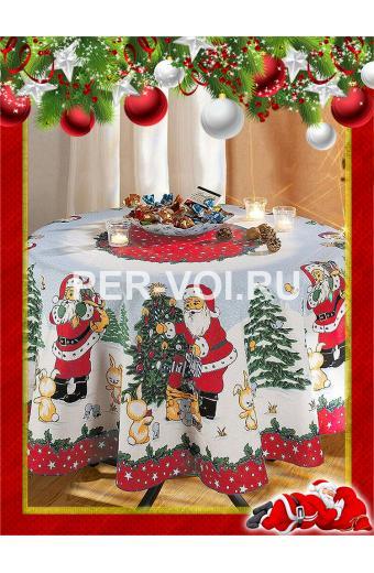 """Круглая новогодняя скатерть с Дедом Морозом диаметр 160 """"ONDA BLU"""" Артикул: Баббо Натале"""