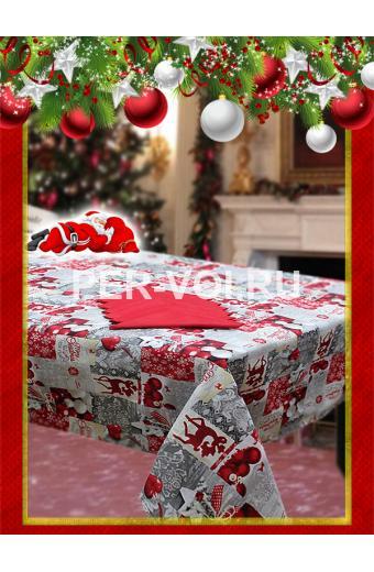 """Новогодняя скатерть с салфетками в коробке 140х220; 140х240 """"VALLEPIANO"""" Артикул: Север № 6"""