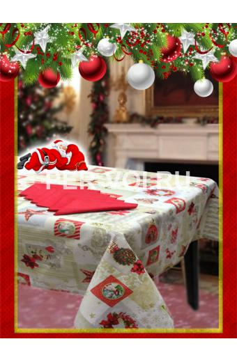 "Новогодняя скатерть с салфетками в коробке 140х180; 140х240 ""VALLEPIANO"" Артикул: Сочельник № 8"