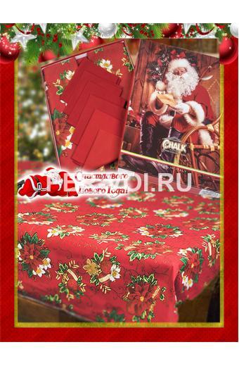 "Новогодняя скатерть с салфетками в коробке 140х240 ""VALLEPIANO"" Артикул: Старс"
