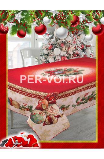 "Скатерть новогодняя гобелен с люрексом 140х180 ""VINGI RICAMI"" Артикул: Санта Клаус (Дед Мороз)"