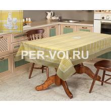 """Оливковая скатерть с вышивкой по центру стола 140х240 """"VINGI RICAMI"""" Артикул: Гарден фужер"""